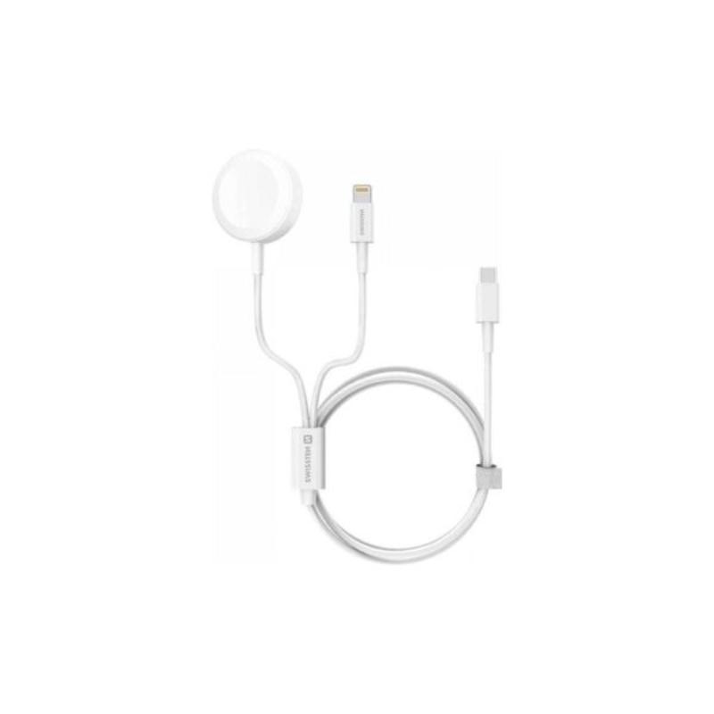 Cabo carregador Swissten 2em1 Apple watch+lightning USB-C