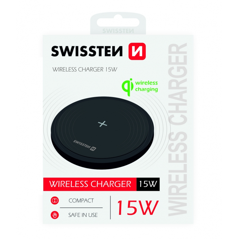 Carregador Swissten Wireless Qi 15W Preto