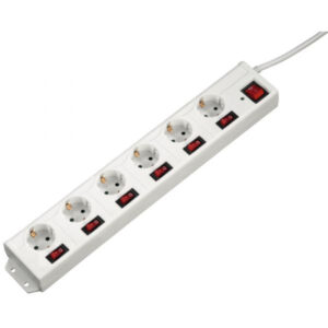 Extensão elétrica Hama 6 Tomadas Com Proteção Branco