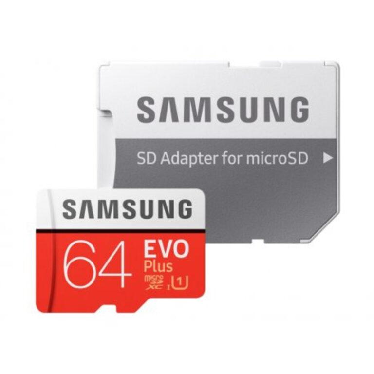 Cartão de memória Samsung 64GB Micro SDXC Evo+ + Adaptador