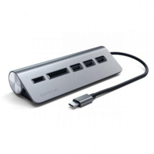 Hub Satechi USB-C Aluminium c/ Leitor de cartões Cinzento