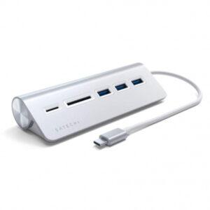 Hub Satechi USB-C Aluminium c/ Leitor de cartões Prateado